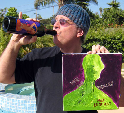 Mike posing with his original Wine And Pickles cover painting