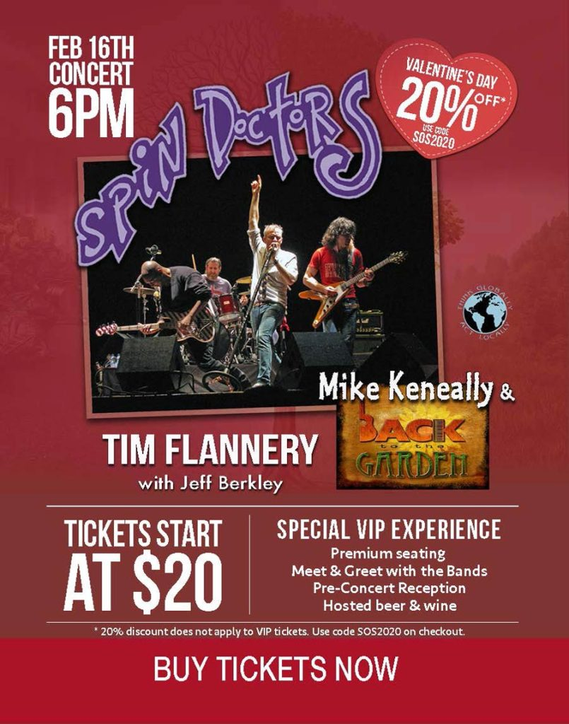 Rock for the Environment featuring the Spin Doctors, Mike Keneally & Back to the Garden and Tim Flannery with Jeff Berkley.