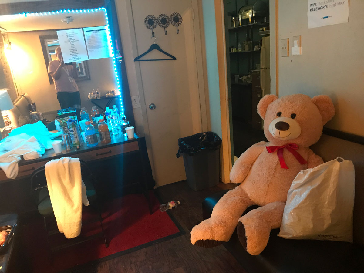 This is a shot of the dressing room after the last show of the foreshortened Devin tour, in Dallas. Audience members brought us stuffed animals every night at Dev's request, because there was no budget for more elaborate staging, so animals decorated the stage every night. This was a really good bear.
