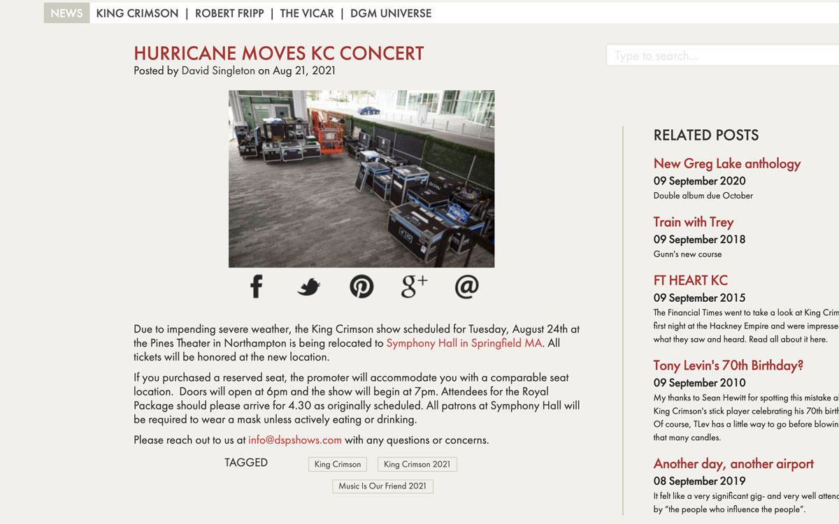Hurricane moves Crimson/Zappa Band concert